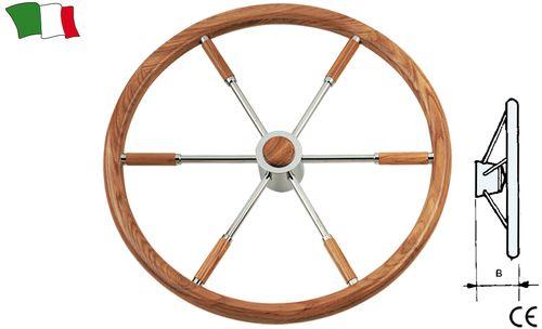 Volan din lemn de tec cu 6 spite din otel inoxidabil.